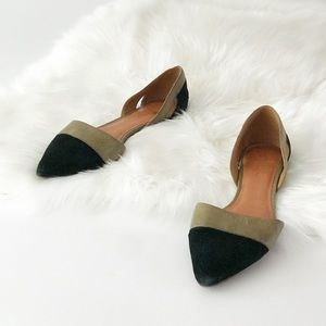 Madewell Two Tone D'orsay Flats Pointed Toe Suede